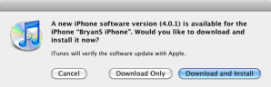 iOS 4.0.1 update Ongoing Issue Image