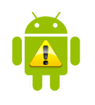 Android Robot Warning - Ongoing Issues Graphic