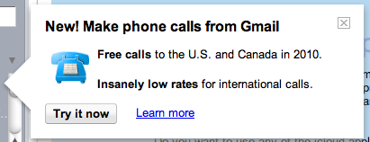 Offer to make calls from Gmail graphic - Ongoing Issues