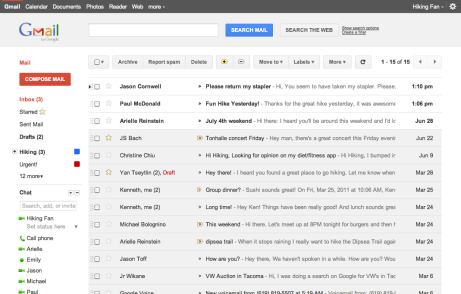 Gmail's new inbox design view